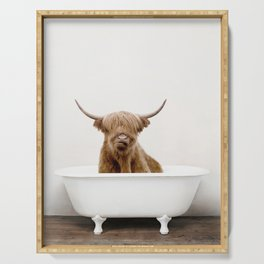 Highland Scotland Cow, Shower Time Serving Tray