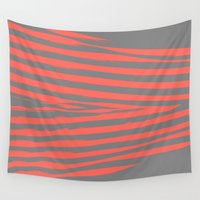 stripes Wall Tapestries featuring Coral & Gray Stripes by 2sweet4words Designs