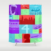 divergent Shower Curtains featuring Divergent Collage by anthony m sennett