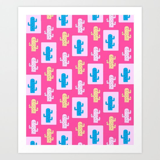 Cacti in pink Art Print