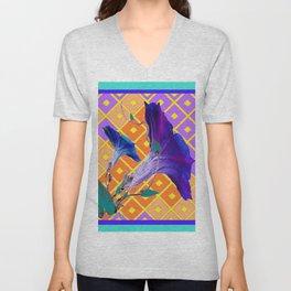 Aqua Purple Gold Morning Glories Unisex V-Neck