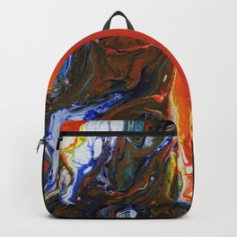 Marbled Orange - Fluid, blue and orange, original, acrylic abstract Backpack