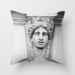 Woman Carved in Stone Florence, Italy Photograph by Larry Simpson Throw Pillow
