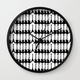 Guitar Silhouettes Black on White Pattern Wall Clock