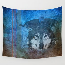 Raven and Wolf Wall Tapestry
