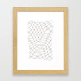 Fish net / black on white distorted geometry Framed Art Print