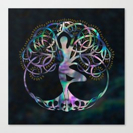 Glowing symbol for Vriksasana - Yoga Tree pose Canvas Print