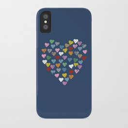 Distressed Hearts Heart Navy iPhone Case