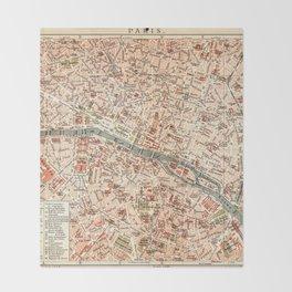 Vintage Map of Paris Throw Blanket