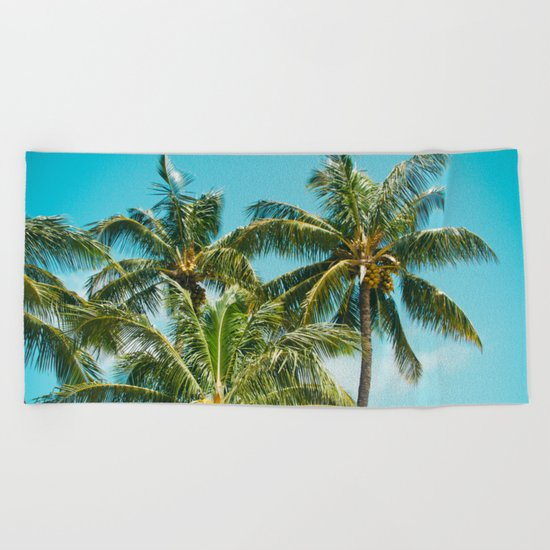Coconut Palm Trees Sugar Beach Kihei Maui Hawaii Beach Towel