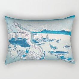 Haku the dragon japanese vintage woodblock mashup Rectangular Pillow