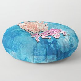 Crab_free lovers_Dots on French Blue_Hand Painted modern watercolor Floor Pillow