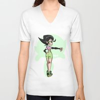 powerpuff girls V-neck T-shirts featuring Buttercup - The Powerpuff Girls by zeoarts