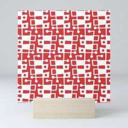 Mid Century Modern Abstract 213 Red Mini Art Print