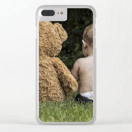 Baby and Teddy Bear Clear iPhone Case