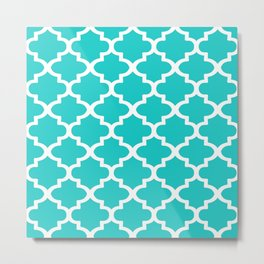 Arabesque Architecture Pattern In Sky Blue Metal Print
