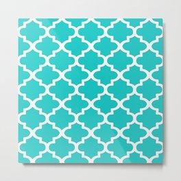 Quatrefoil Pattern In Sky Blue Decorative Moroccan Pattern Metal Print