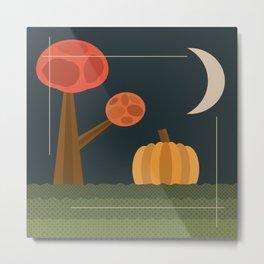 Vintage Pumpkin Patch Halloween Night Moon Metal Print