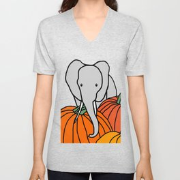 Big Elephant hanging out in the Pumpkin Patch for Halloween Unisex V-Neck