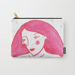 Woman Portrait, Rain and flowers Carry-All Pouch
