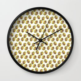 Butter Yellow Pansies Pattern Wall Clock