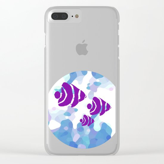 Three Purple Fishes Clear iPhone Case