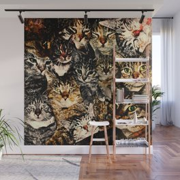 cat collage our beloved kitten cats watercolor splatters Wall Mural
