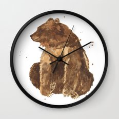 Bear, brown bear, guy art, man cave, woodsman, forestry lover, wild thing, daniel boone person Wall Clock