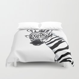 Zebra with glasses, black and white Duvet Cover