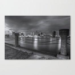 Norfolk Skyline II in Black and White Canvas Print