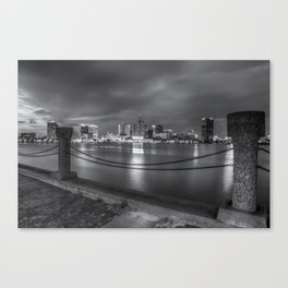 Norfolk Skyline II in Black and White Canvas Print