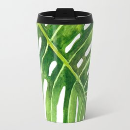 Watercolor Monstera Leaves Travel Mug
