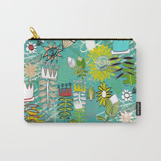 wired weed turquoise blue Carry-All Pouch