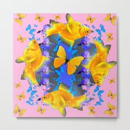 GOLDFISH & BUTTERFLIES PINK NURSERY ART Metal Print