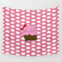 cupcake Wall Tapestries featuring Cupcake by EnelBosqueEncantado