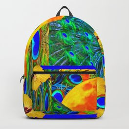 YELLOW HIBISCUS FULL GOLDEN MOON  BLUE PEACOCKS Backpack