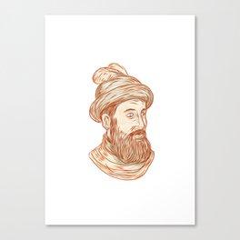 Francisco Pizarro Drawing Canvas Print