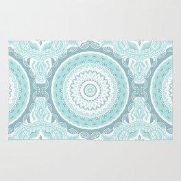 Mandala Pattern Light Blue Teal Aqua Pastels Rug
