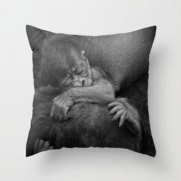Newborn Baby Gorilla Throw Pillow