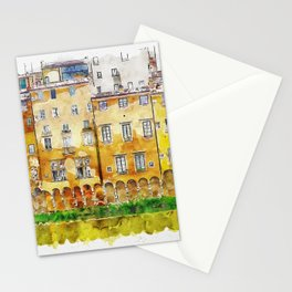 Aquarelle sketch art. View of the historic buildings in Florence. Reflection in the river Stationery Cards