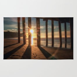 Through the Blinds sun bursts through Avila Pier Avila Beach California Rug