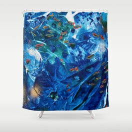 Rainbow Fish Swim, Environmental Tiny World Collection Shower Curtain