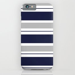 Navy Blue and Grey Stripe iPhone Case