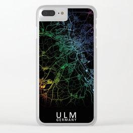Ulm, Germany, City, Map, Rainbow, Map, Art, Print Clear iPhone Case
