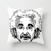 einstein Throw Pillows featuring EINSTEIN by James Vickery