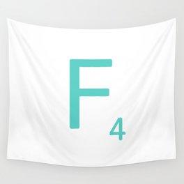 Blue Letter F Custom Scrabble Wall Tapestry
