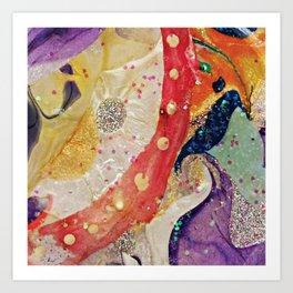 Vibrant Colorful Glittering Modern Abstract Art Art Print