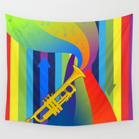trumpet Wall Tapestries featuring Rainbow Trumpet by Nathalie Lawhead