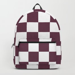 Checkered Pattern: Burgundy Red Backpack