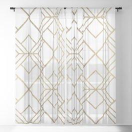 Geometrical white faux gold elegant stylish diamonds Sheer Curtain